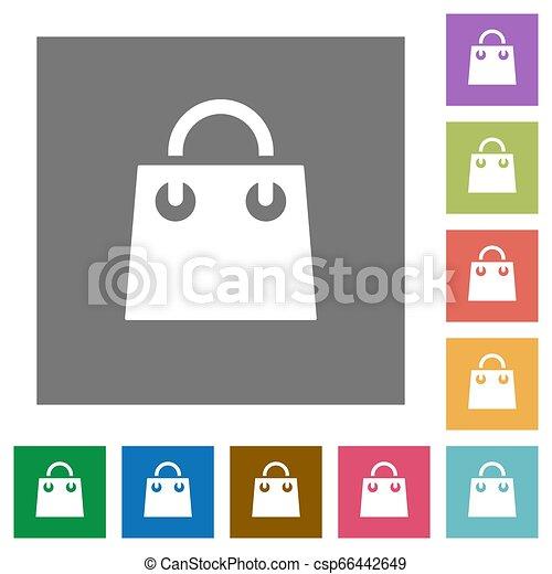 Shopping bag square flat icons - csp66442649
