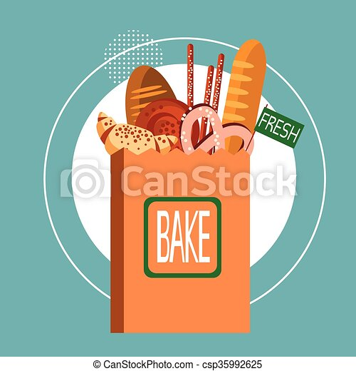 Shopping Bag With Fresh Bakery Pastry Cook Food - csp35992625