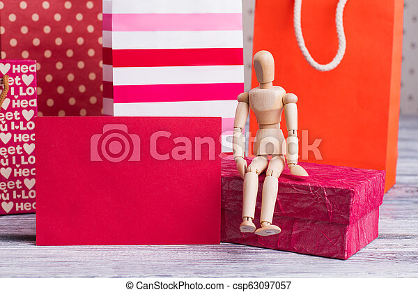 Shopping bags and blank paper card. - csp63097057