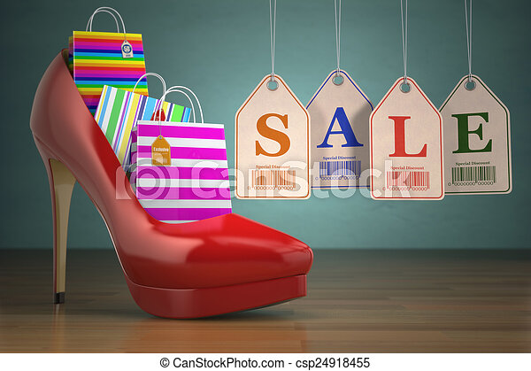 Shopping bags in women high heel shoes and labels sale. Concept - csp24918455