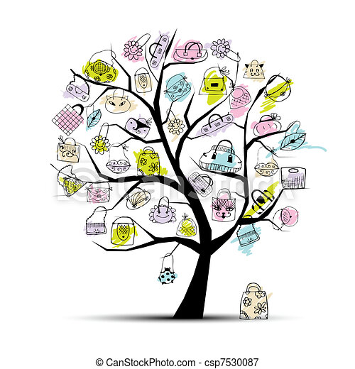 Shopping bags on tree for your design  - csp7530087