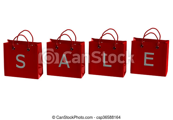 13bcac9e443 Stock Illustration. Shopping bags with word sale. 3D rendering. -  csp36588164