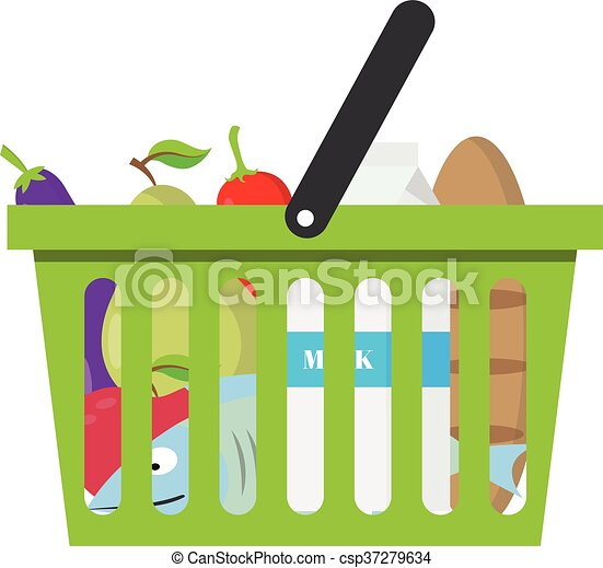 Shopping basket full of healthy organic fresh and natural food. Flat vector icon - csp37279634
