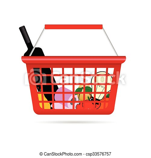 shopping basket illustration with product - csp33576757