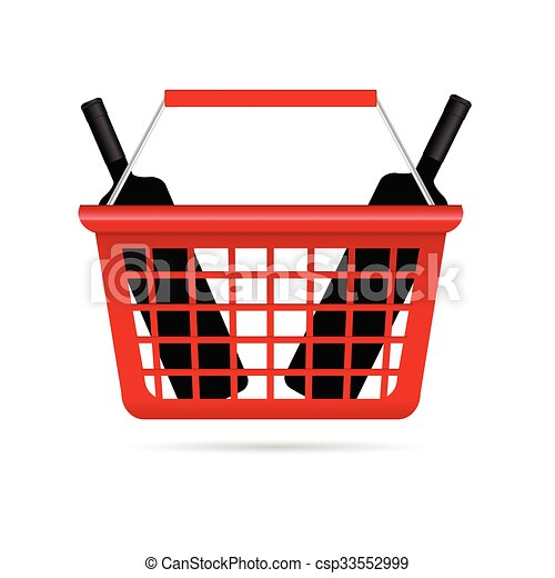 shopping basket illustration with wine - csp33552999