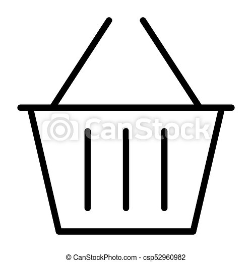Shopping Basket Pixel Perfect Vector Thin Line Icon 48x48. Simple Minimal Pictogram - csp52960982