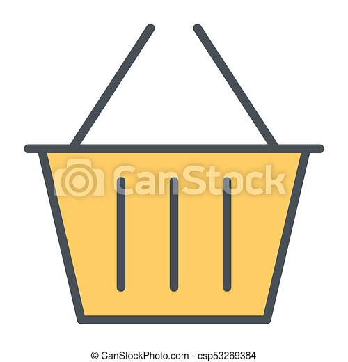 Shopping Basket Pixel Perfect Vector Thin Line Icon 48x48. Simple Minimal Pictogram - csp53269384