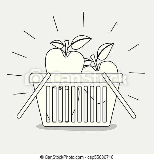 shopping basket with apples fruits monochrome silhouette - csp55636716