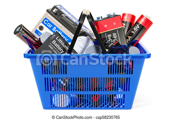 Shopping basket with different batteries. 3D rendering - csp58230765