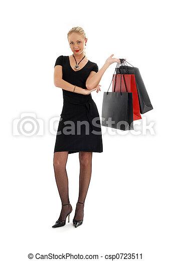 shopping blond in black dress #3 - csp0723511