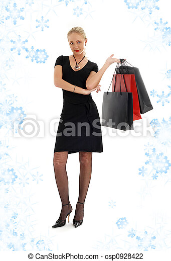 shopping blond in black dress with snowflakes #3 - csp0928422