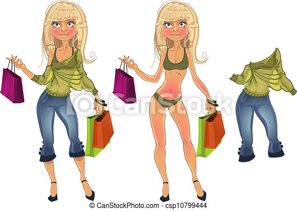 shopping blond with clothe - csp10799444