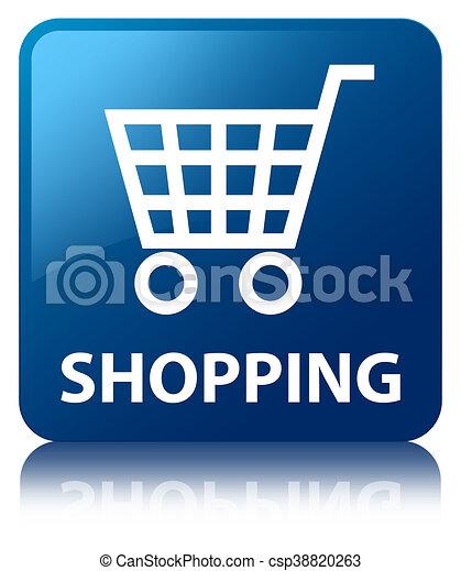 Shopping blue square button - csp38820263