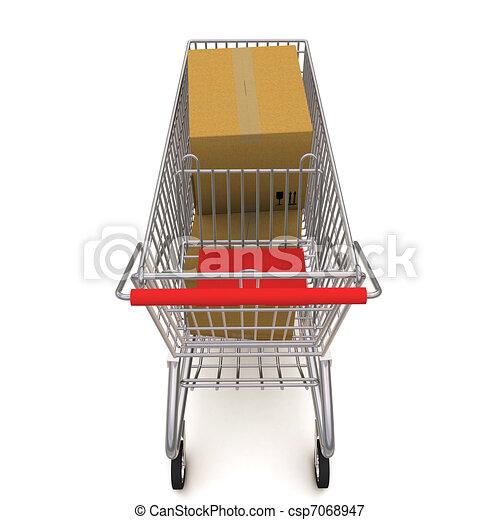 shopping, boxes., carrello, interpretazione, fondo, bianco, 3d - csp7068947