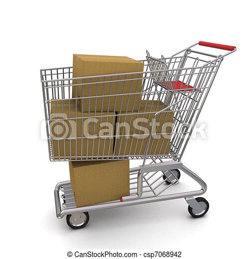 shopping, boxes., carrello, interpretazione, fondo, bianco, 3d - csp7068942