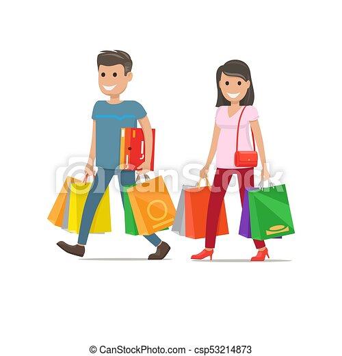 Dessin Shopping shopping., caractères, couple, femme, va, homme. achats, bourse