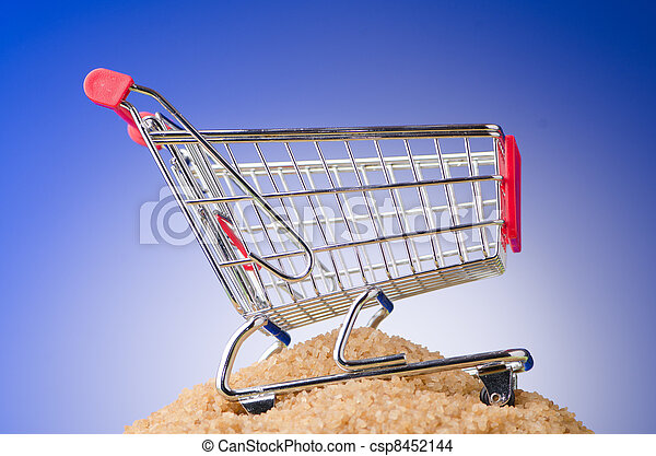Shopping cart against gradient background - csp8452144
