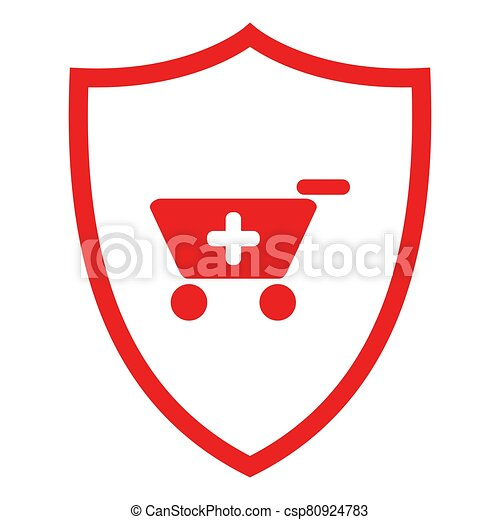 Shopping cart and shield - csp80924783