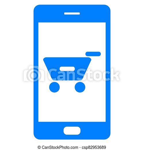 Shopping cart and smartphone - csp82953689
