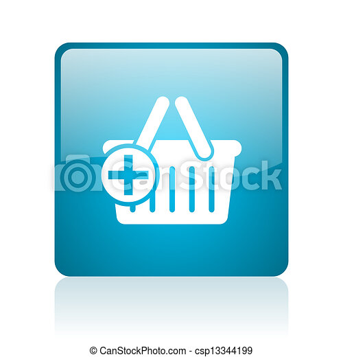 shopping cart blue square web glossy icon - csp13344199