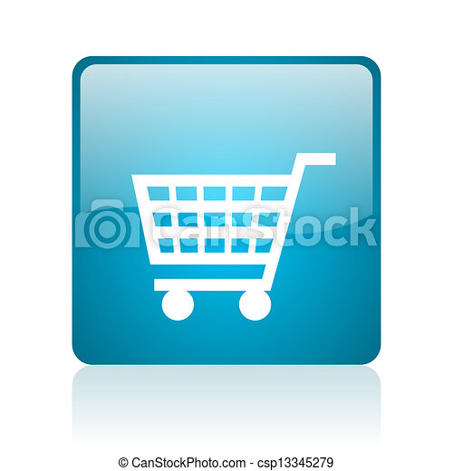 shopping cart blue square web glossy icon - csp13345279