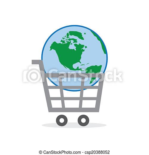 Shopping Cart Globe - csp20388052