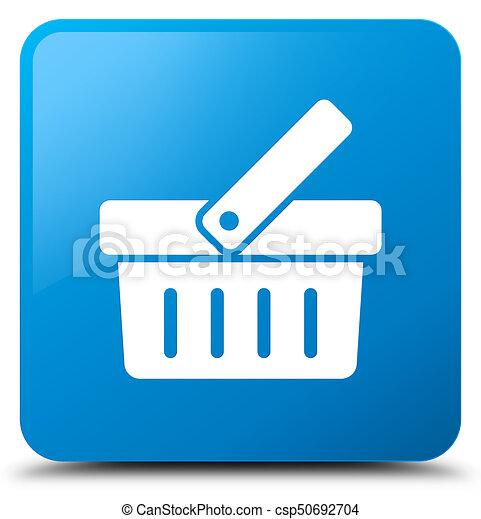 Shopping cart icon cyan blue square button - csp50692704