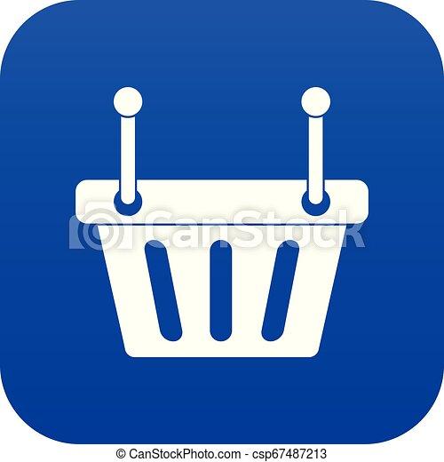 Shopping cart icon digital blue - csp67487213