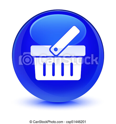 Shopping cart icon glassy blue round button - csp51446201
