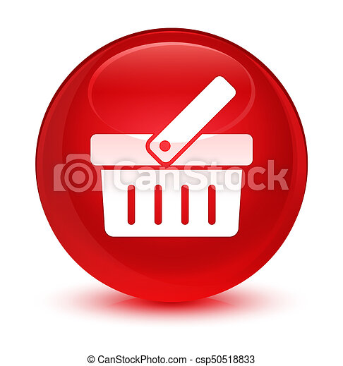Shopping cart icon glassy red round button - csp50518833