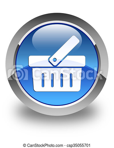 Shopping cart icon glossy blue round button - csp35055701