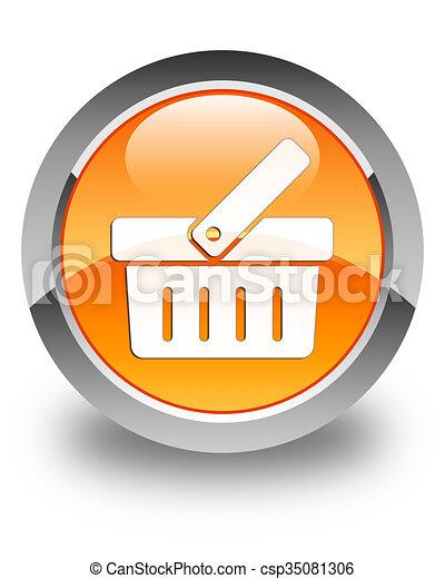 Shopping cart icon glossy orange round button - csp35081306