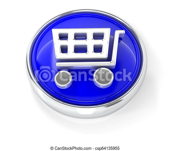Shopping cart icon on glossy blue round button - csp64135955