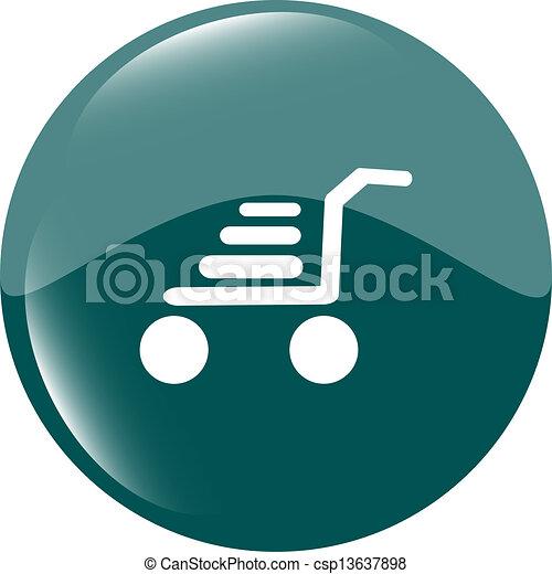 Shopping cart icon on round internet button original illustration - csp13637898