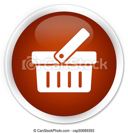 Shopping cart icon premium brown round button - csp50689393
