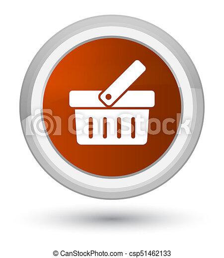 Shopping cart icon prime brown round button - csp51462133