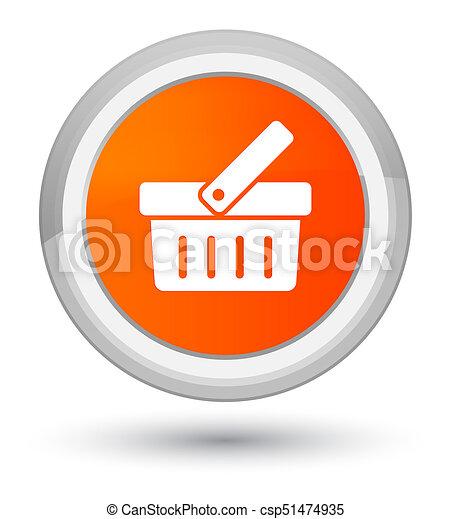 Shopping cart icon prime orange round button - csp51474935