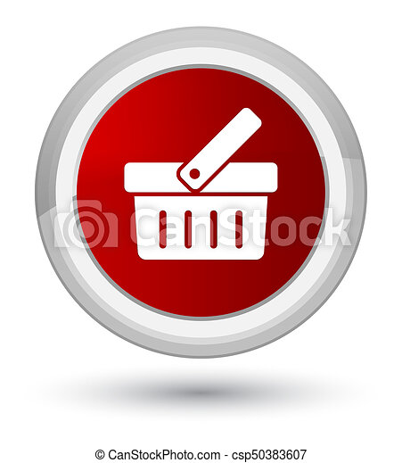 Shopping cart icon prime red round button - csp50383607