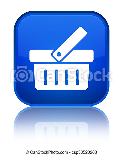 Shopping cart icon special blue square button - csp50520283