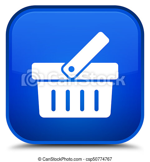 Shopping cart icon special blue square button - csp50774767