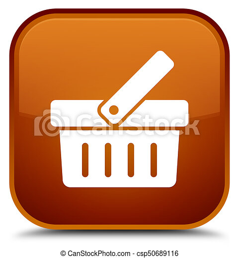 Shopping cart icon special brown square button - csp50689116