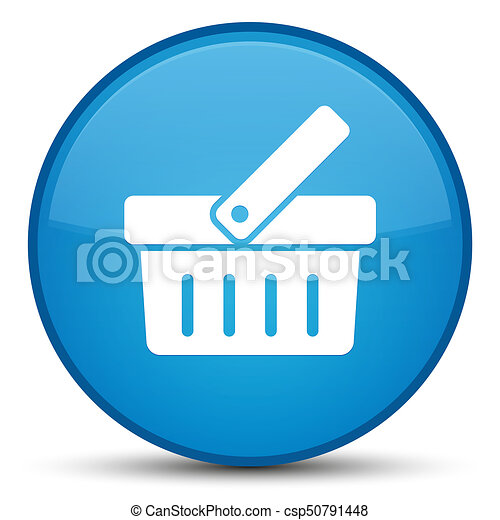 Shopping cart icon special cyan blue round button - csp50791448