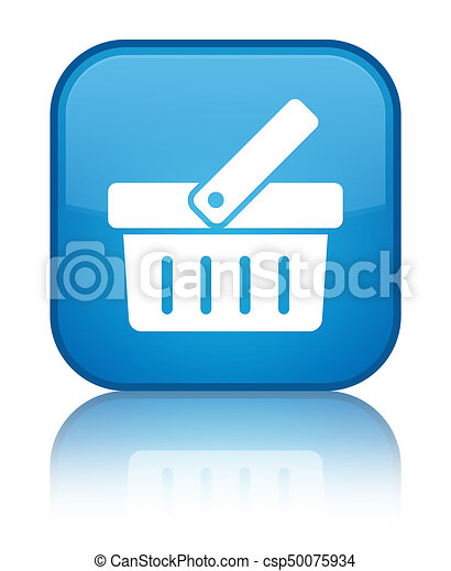 Shopping cart icon special cyan blue square button - csp50075934