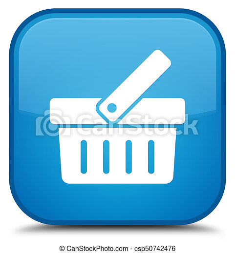 Shopping cart icon special cyan blue square button - csp50742476