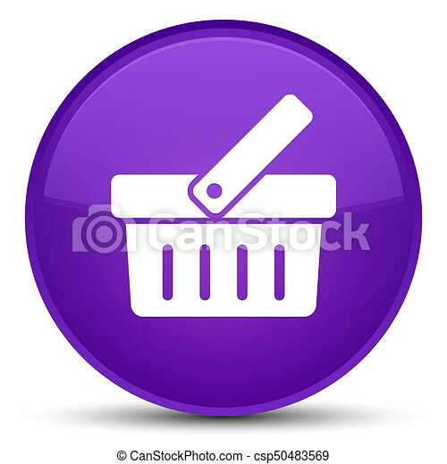 Shopping cart icon special purple round button - csp50483569