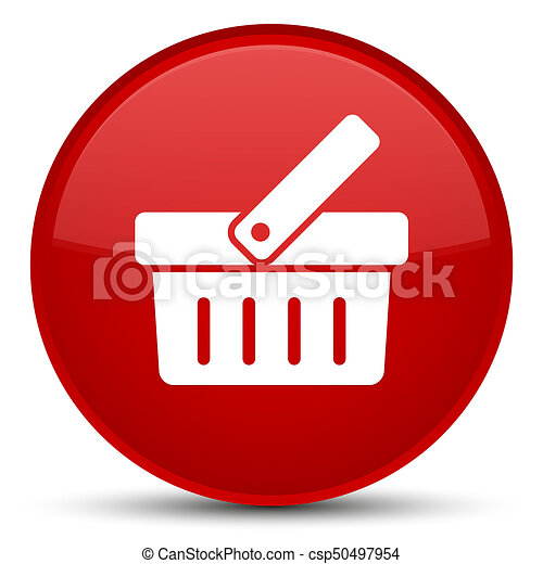 Shopping cart icon special red round button - csp50497954