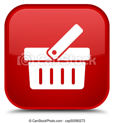Shopping cart icon special red square button - csp50080273