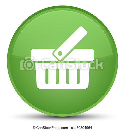 Shopping cart icon special soft green round button - csp50804964