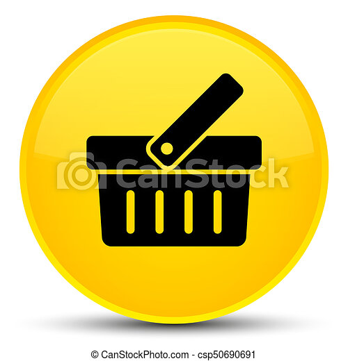 Shopping cart icon special yellow round button - csp50690691