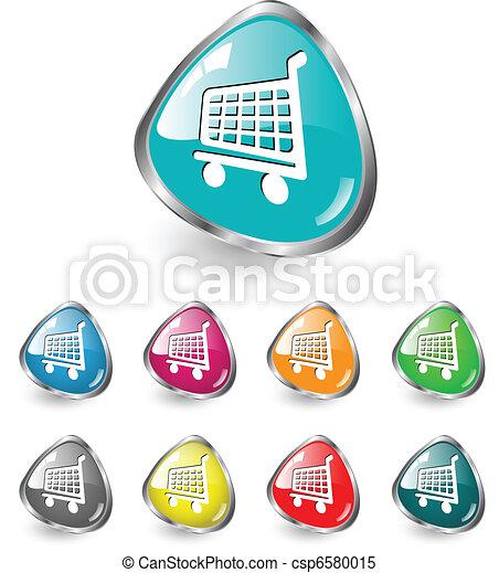 Shopping cart icon vector set - csp6580015